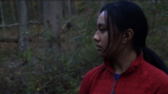 """Therese acting in """"The 73,"""" a student film by Katie Goralski."""