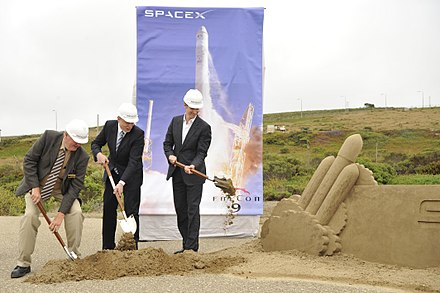 SpaceX breaking ground at Vandenberg AFB SLC-4E in June 2011 for the Falcon Heavy launch pad