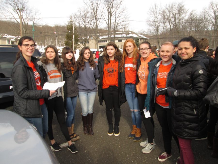 Organizers of the walkout. From the left: Hayden Burt, Lindsay Naugle, Olivia Hurtado, Rachel Dillon, Caroline Lavallee, Kathryn Brown, Brianna Witting, Susie Ramirez, and Sofia Harty.