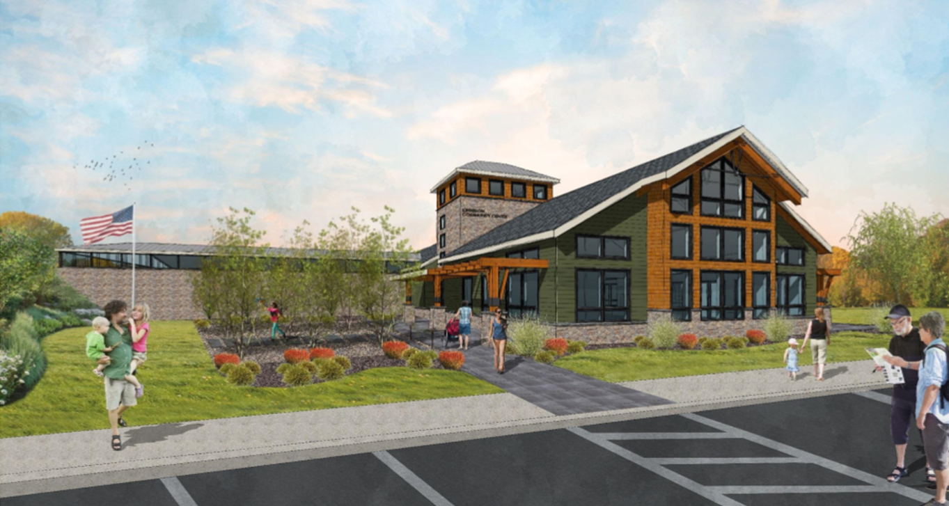 An architectural rendering of the proposed community center. Photo: Alex Merlucci.