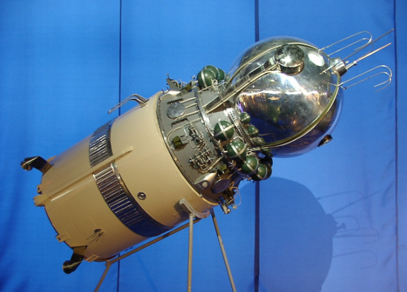 Model of Vostok 1 with its upper stage.