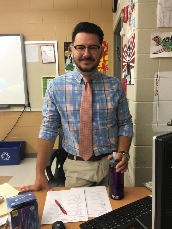 New teacher, Mr. Zablocki in his classroom. Photo by Rachel Delaney.