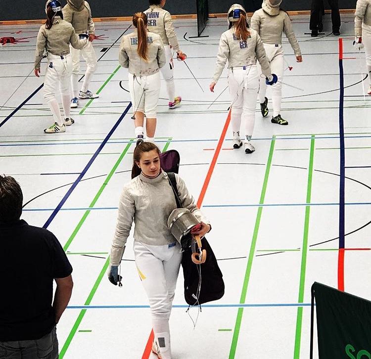 Viven Buchmann at a fencing match. Photo Courtest of Vivien Buchmann.