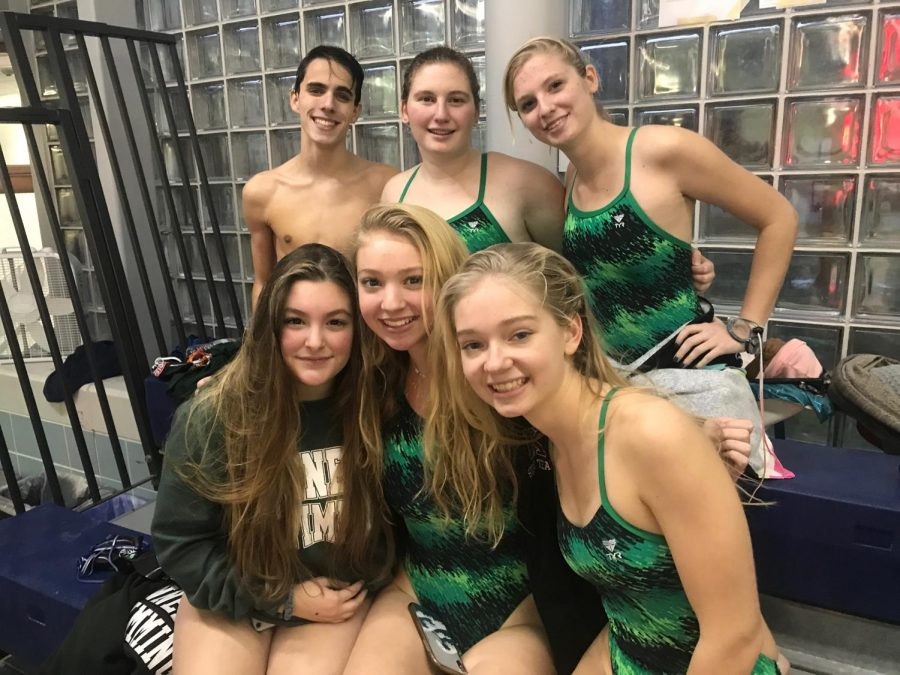 KHS+swimmers+at+their+second+meet+against+Randolph.+Top+row+from+the+left%3A+Jimmy+Dougherty%2C+Kendal+Simmons%2C+and+Abby+Bosch.+Bottom+row+from+the+left%3A+Julianna+Picinic%2C+Sage+Sedlacek%2C+and+Rachel+Delaney.