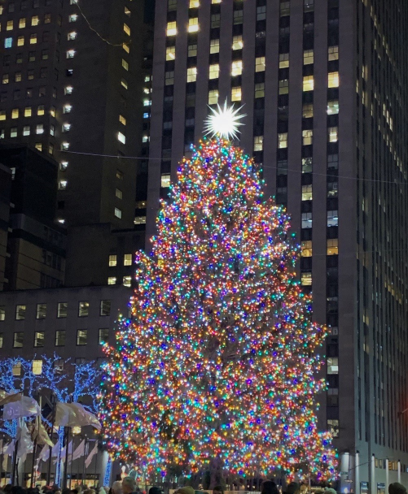 Night shot of the Christmas tree in Rockefeller Center. Picture courtesy of G Santy.