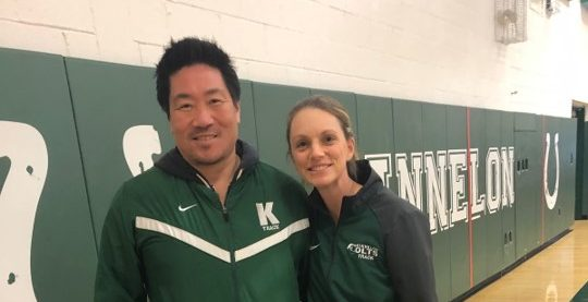 Coach Joe Lee and Laura Chegwidden at track practice. Photo by Haripriya Kemisetti.