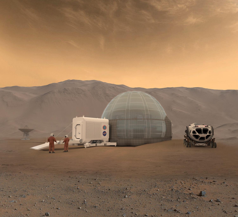 An artist's conception of a Mars habitat.