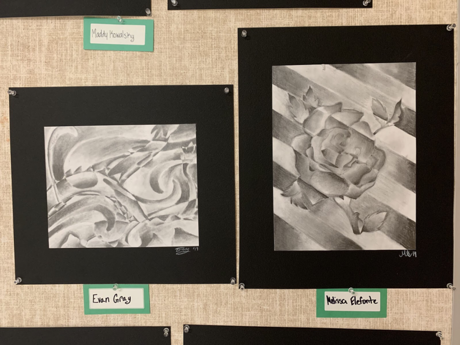 OP art by freshmen Evan Gray and Melissa Elefonte.