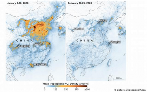 Two side by side pictures showing the difference of nitrogen dioxide between January and February in China of the same year.