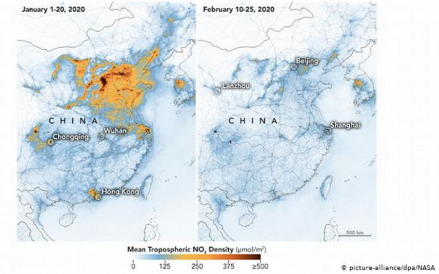 Two+side+by+side+pictures+showing+the+difference+of+nitrogen+dioxide+between+January+and+February+in+China+of+the+same+year.