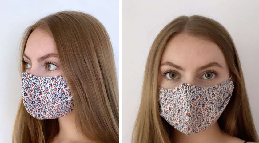 Above, Julia Hackney demonstrates how to properly wear a mask, and exemplifies a fun at-home craft.