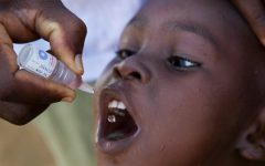 This child is receiving polio drops by organizations that are on a mission to eradicate polio for good.