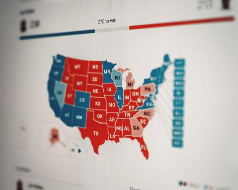 2020 election map showing the divide between red and blue states.