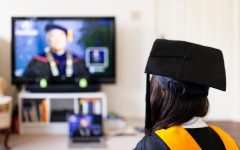A college student in her virtual graduation.
