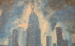 A painting made with blue tones of a city skyline and the galaxy above.