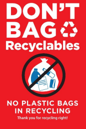 Photo of No Plastic bags graphic provided by Liz Sweedy.